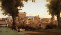 Oil painting Corot - Rome - View from the Farnese Gardens Morning canvas 36""