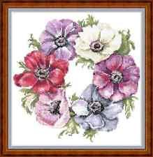 """Anémona Anillo"""""""" (9""""x9"""") cuadro de punto de cruz flores/jardines/bastante nuevo libre de Reino Unido P&p"""