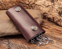 C75 Brown Mens Punk Vintage Leather Key Rings Holder Keychain Key Case For Women