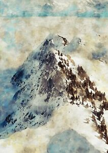 Mountain and trees covered in snow, watercolour landscape painting for home