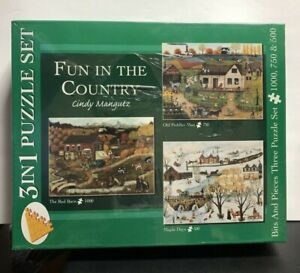 "Bits and pieces ""Fun In The Country"" By Cindy Mangutz, 3 In 1 Puzzles Set. New."