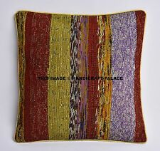 "Hand Woven Pillows Indian Cushion Cover Vintage Jute Throw Boho Pillow case 16"""