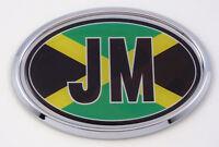 Jamaica JM Flag Car Chrome Emblem Bumper Sticker flag decal oval