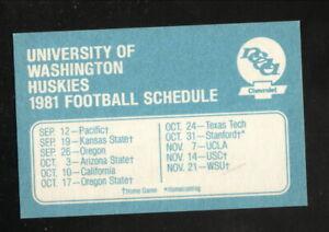 Washington Huskies--1981 Football Pocket Schedule--Chevrolet