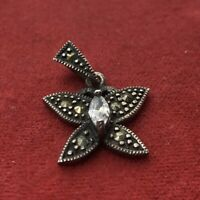 Vintage Sterling Silver Necklace 925 Pendant Marcasite CZ Butterfly Signed