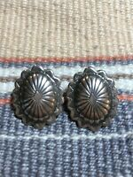 #888 Vintage Classic Conch Sterling Silver 925 Navajo Earrings Signed F