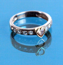 Auth Folli Follie Sterling Silver 925 Peach Heart Stone Finger Ring US Size US 6