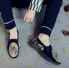 Mens Embroidery Floral Slip On Loafers Soft Soft Sole Casual Shoes Comfortable