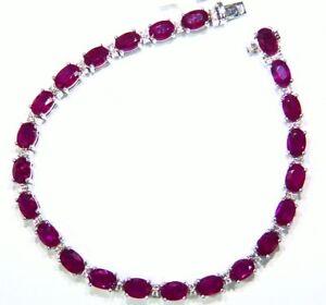 Vintage 12.08CT 14K Gold Natural Ruby Diamond Halo Burma Tennis Bracelet Retro