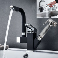 Kitchen Sink Mixer Taps 360° Swivel Spout With Pull Out Spray Faucet & 2 Hose