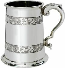 Pewter Tankard 1 Pint Embossed Double Band Kells Design Ornate Handle Engravable