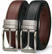 """Men's Reversible Belt, Leather Dress Belt for Men 1.3"""" Wide with Rotated Buckle"""