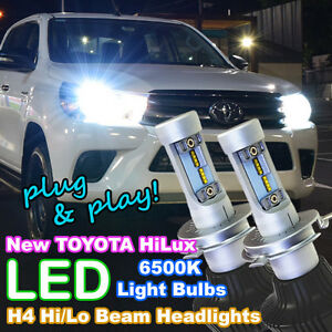 Pair of H4 Hi/Lo LED Light Bulbs for 2015-2019 TOYOTA HILUX Ute 4X4 Headlights