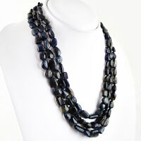 AAA 474.50 CTS NATURAL 3 STRAND UNTREATED RICH BLUE TANZANITE BEADS NECKLACE