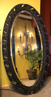 "Antique Victorian Carved Wood Oval Mirror Ornate Dark Gesso 47"" Gothic Beveled"