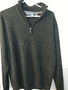 Men's Oscar De La Renta Gray Pullover Quarter Zip Long Sleeve Sweater Size L **