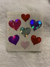 Vintage Sticker Prismatic Pink Red Purple Hearts Sandylion