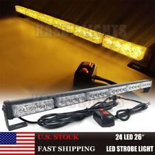 "26"" 24LED Traffic Directional Emergency Warning Strobe Vehicles Light Bar Amber"