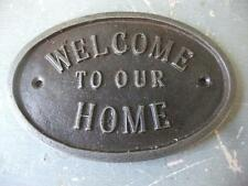 welcome to our home  - DOOR SIGN ~ CAST IRON ~  PLAQUE