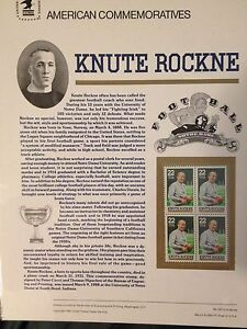 USPS COMMEMORATIVE COLLECTIBLE STAMP PANELS #307 3/9/88 COACH KNUTE ROCKNE