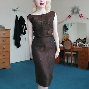 Vintage 1950's 1960's Brown Bronze Gold Lurex Sleeveless Wiggle Party Dress