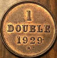 1929 GUERNESEY 1 DOUBLE - Uncirculated