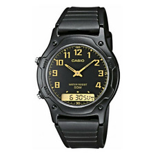 NEW CASIO MEN'S DUAL TIME WATCH WITH ANALOGUE & DIGITAL DISPLAY BLACK AW49H-1BV