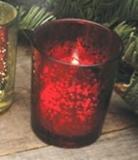 Red Rustic Glass Votive Candle Holder, New, Holds Tealight or Votive Candles