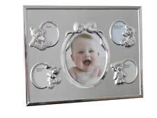 Baby Kinder Fotorahmen Bilderrahmen Teddymotive 3 D versilbert mattiert 8964231