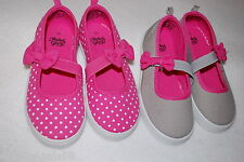 Toddler Girls Shoes 2 PAIR LOT Mary Janes PINK POLKA DOT Canvas GRAY Cute Bow 8