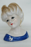 Nippon Hand Painted Japanese Porcelain Lady Head Vase with Earring 1245B