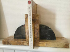 """Antique pair French Art Deco Marble Bookends Heavy Caramel Black  6"""" France"""