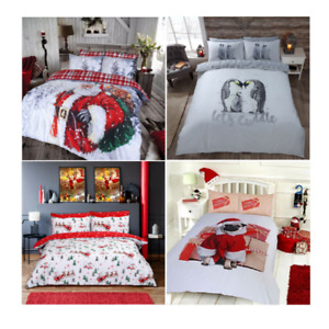 Winter & Christmas Print Santa , Pug or Penguin Duvet Quilt Cover Bedding Sets