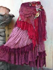 LACE LAYER BOHO WRAP LONG TATTER FLORAL STEVIE GYPSY SHABBY MAXI SKIRT GOTH S M
