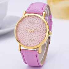 Ladies Gold Geneva Platinum Range Quartz Snow Flake Pink Faced Wrist Watch.