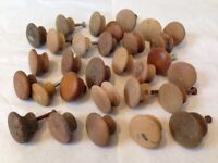 Mixed Lot 30 Vintage Round Wood Domed Antique Cabinet Knobs Drawer Pulls 3-4cm