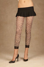 Leopard print leggings with lace trim! One Size!