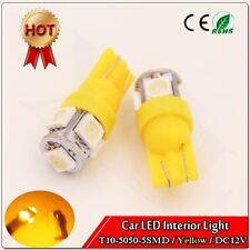 50PCS Yellow car led lights T10 194 168 2825 5x 5050 SMD LED Super Bright bulbs