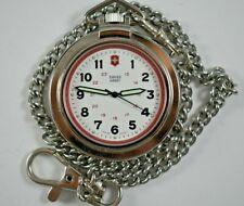 Swiss Made Swiss Army Quartz Pocket Watch w/14'' Chain Working lot.x