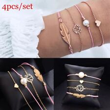 4 Pcs/set Pearl Bracelet Charm Multi-layer Lotus Flowers Leaf Heart Bracelets