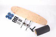 """Natural 32"""" Kicktail Mini Skateboard With Clear Blue Wheels Complete Kit"""