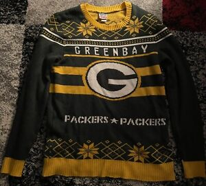 NWOT Green Bay Packers Green Yellow Junk Food Ugly Christmas Sweater XXXL 3XL