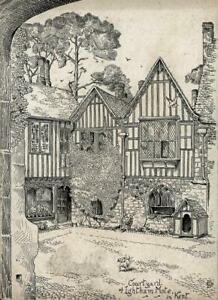 COURTYARD OF IGHTHAM MOTE IN KENT Victorian Pen & Ink Drawing 1899 SIGNED WH