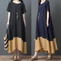 Women Summer Short Sleeve T-Shirt Dress Patchwork Loose Oversize Midi Dress Plus