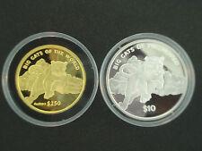 RARE 2001 SIERRA LEONE BIG CATS 1 oz GOLD & 1 oz SILVER PROOF COIN SET w/ BOX