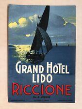 Hotel Luggage Label   Gd Hotel Lido Riccione Italy   NR MINT Rare Richter