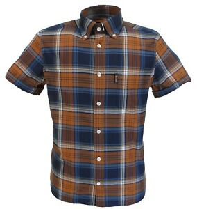 Trojan Mens Golden Tan Check Short Sleeved Shirts and Matching Pocket Square