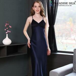 Pure Silk Womens Long Dress Nightie for Women Dark Blue