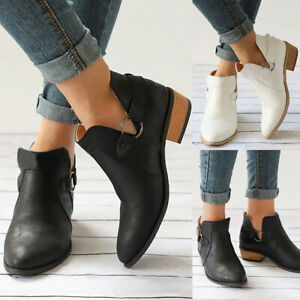 Womens Leather Ankle Boots Lady Casual Flats Block Low Heel Chunky Booties Shoes