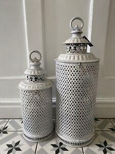 Set 2 Large White Metal Moroccan Lanterns - Vintage Antique Candle Garden Indoor